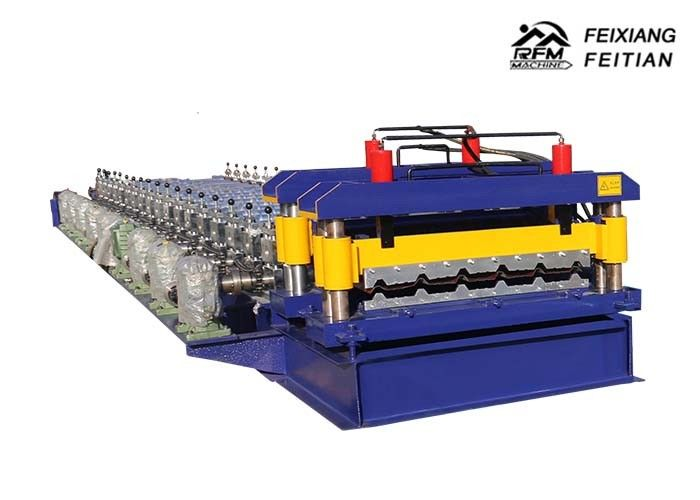 Color Coated Glazed Tile Roll Forming Machine PLC Control With 0.3 - 0.8mm Thickness