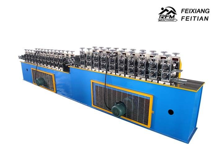 Blue Roller Shutter Door Roll Forming Machine Continuous PU Sandwich Panel Production Line